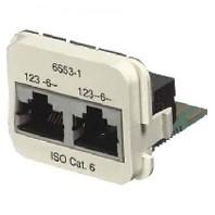 AMP ACOplus Cat. 6A Adaptereinsatz 100 Base-TX / 10 Base-T 2 x RJ45 Buchse geschirmt, RAL 9010