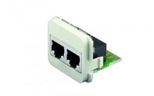 AMP ACO Adapter Einsatz 10/100 Base-T 2 x RJ45 Buchse geschirmt, 300 MHz, RAL 9010