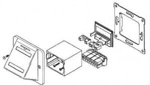 AMP ACO Installationskit, Schrägauslass, Farbe: RAL 9010 (reinweiß)