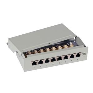 8 Port Mini Patchfeld, Cat. 6 bis 250 MHz