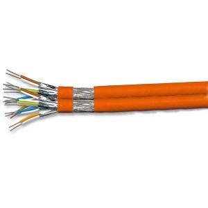 Cat. 7 Duplex PIMF Installationskabel, S/FTP, bis 900 MHz, Kupfergeflechtgesamtschirm, Paare foliengeschirmt, 100 m