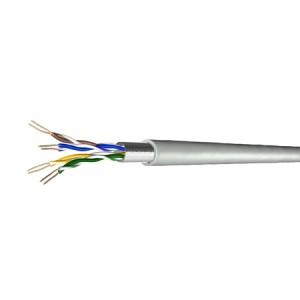 Cat. 5e Patchkabel, halogenfrei, Folienschirm, bis 300 MHz, 100 m Ring, grau