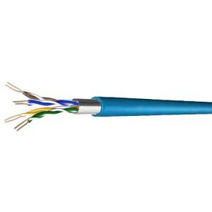 Cat. 5e Patchkabel, halogenfrei, Folienschirm, bis 300 MHz, 100 m Ring, blau