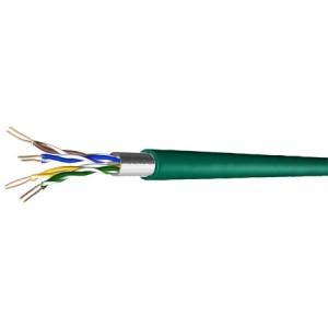 Cat. 5e Patchkabel, halogenfrei, Folienschirm, bis 300 MHz, 100 m Ring, grün