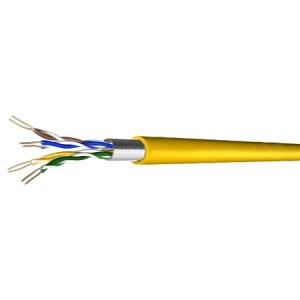 Cat. 5e Patchkabel, halogenfrei, Folienschirm, bis 300 MHz, 500 m, gelb
