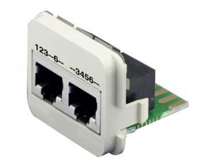 AMP ACOplus Cat. 6  Adaptereinsatz 100 Base-TX + ISDN 2 x RJ45 Buchse geschirmt, RAL 9010