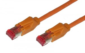 Cat. 7 Patchkabel mit 2 x RJ45 Stecker (Hirose TM21) paarweise geschirmt (Draka UC900), orange, 0,5 m