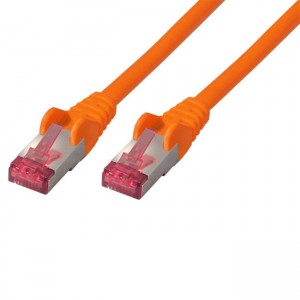 Cat. 6a Standard Patchkabel, 2 x RJ45 Stecker,  paarweise geschirmt + Kupfergeflecht, halogenfrei, orange, 2m