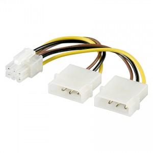 """PCI-Express Adapter 12 V Power 2 x Netzstecker 5,25"""" / 1 x PCI-Express 6-pol. Stecker"""