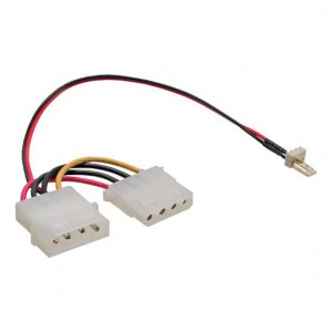 "Lüfter Anschlusskabel, 3-pol. Molex Stecker an 5,25"" Stromversorgungs Stecker"
