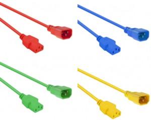 Kaltgeräte Netzverlängerungskabel farbig, C13-C14