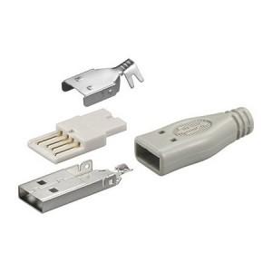 USB Typ-A Stecker, gerade, inkl. Knickschutztülle