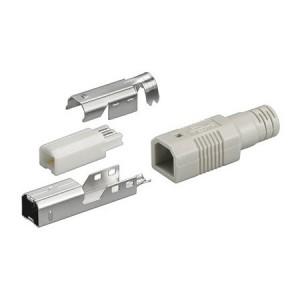 USB Typ-B Stecker, gerade, inkl. Knickschutztülle