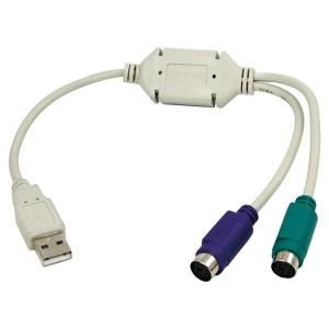 USB / PS2 Konverter, USB Stecker Typ A / 2 x 6-pol. Mini-DIN Buchse, Kabellänge: ca. 30 cm, mit Elektronik