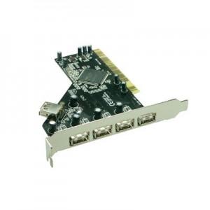 USB 2.0 PCI Schnittstellenkarte, bis zu 480 MBit/s, 4 x Typ A Buchse, USB 1.1 abwärtskompatibel