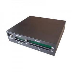 """Interner USB 2.0 Card Reader - all in one zum Einbau in einen 3.5"""" Schacht, schwarz"""