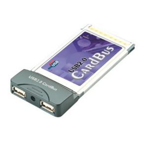 USB 2.0 PCMCIA Schnittstellenkarte, 2 Port Typ A, bis zu 480 MBit/s, abwärtskompatibel