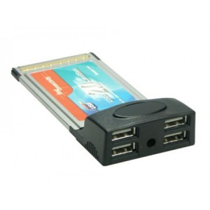 USB 2.0 PCMCIA Schnittstellenkarte, 4 Port Typ A, bis zu 480 MBit/s, abwärtskompatibel