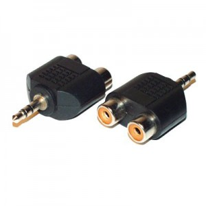 Audio Y-Adapter, 3,5 mm Klinkenstecker / 2 x Chinch Buchse