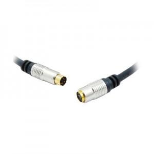 High End S-VHS Verlängerungskabel mit Koaxleitungen,  vergoldete Stecker, 4-pol. Mini-DIN Stecker/Buchse, Länge: 5 m