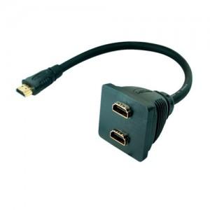 HDMI Adapter, HDMI Stecker / 2 x HDMI Buchse zum Anschluss von zwei Displays