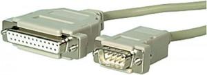 AT-Adapterkabel, 9-pol. Sub-D Stecker / 25-pol. Sub-D Buchse geschirmt, 3 m