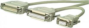 Modem Y-Kabel, 25-pol. Sub-D Buchse und 9-pol- Sub-D Buchse, 25-pol. Sub-D Stecker, 1,8 m