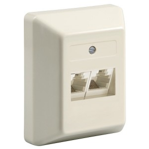 ISDN Anschlussdose, 2-fach, Aufputz, ungeschirmt