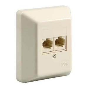 ISDN Anschlussdose, 2-fach, Aufputz, ungeschirmt, Buchsen parallel