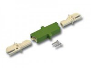 LWL Kupplung, E2000/E2000-simplex, Keramik, singlemode, APC, Gehäuse: grün