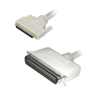SCSI III Kabel, 68-pol. HP Sub-D Stecker / 50-pol. Centronic Stecker ,UL2919, vergossen, 1 m