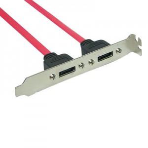 S-ATA intern/extern Adapter, im Slotblech, 2 Port 7-pol. Buchse an 7-pol. Buchse