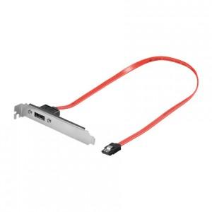 eSATA extern/S-ATA intern Adapter, im Slotblech, 1 Port 7-pol. Buchse an 7-pol. Buchse