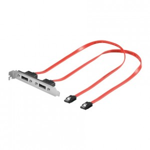 eSATA extern/S-ATA intern Adapter, im Slotblech, 2 Port 7-pol. Stecker an 7-pol. Buchse