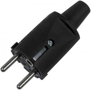 Schukostecker mit Knickschutz, 16 A, schwarz für Leitungen bis 2,5 mm², VDE zertifiziert