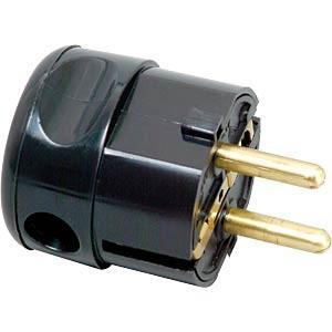 Schukostecker abgewinkelt, 16 A/250V, schwarz