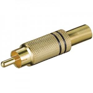 Cinch Stecker, vergoldet, mit schwarzer Markierung