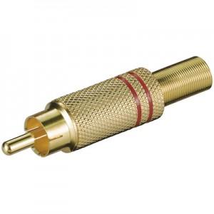 Cinch Stecker, vergoldet, mit roter Markierung