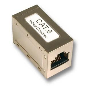 Modularadapter Cat. 6, 2 x RJ45 Buchse (8P/8C), 1:1, geschirmt, metallisiert