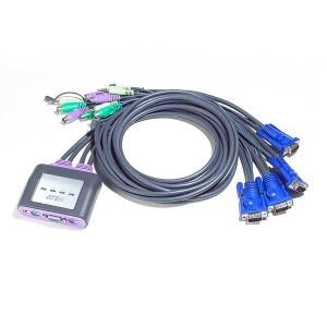Pocket CPU Umschalter, 4-fach, (VGA, PS2 und Audio), inkl. 4 x fest integrierte Anschlusskabel, Länge: 1,8 m