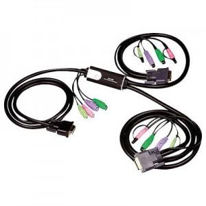 Pocket CPU Umschalter, 2-fach, (DVI, PS2 und Audio), inkl. 2 x fest integrierte Anschlusskabel, Länge: 1,2 m