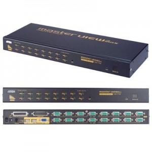 USB+PS/2 CPU Umschalter, 16-fach, automatisch, 19'' Einbau für 16 PC's an 1 x Tastatur/Maus (PS/2 - USB) und Monitor