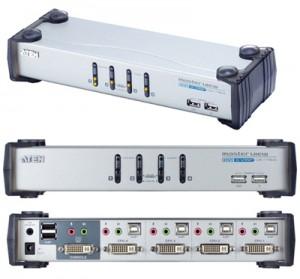 DVI - USB - Audio CPU Umschalter, automatisch für 4 PC`s