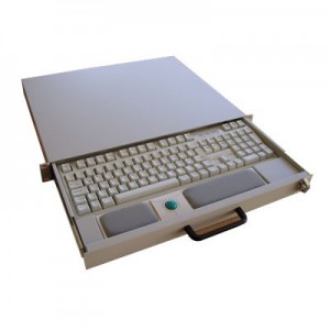 "19"" Tastaturschublade, 1 HE mit USB Tastatur und Trackball"