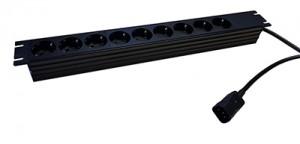 """9-fach 19"""" Steckdosenleiste ohne Schalter, Farbe: schwarz 9x Schuko, 2 m Kabel mit Kaltgerätestecker (C14)"""