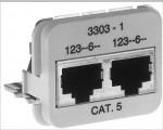 AMP ACO Adapter Einsatz 10/100 Base-T 2 x RJ45 Buchse geschirmt, RAL 1013