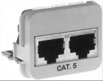 AMP ACO Adapter Einsatz 2 x RJ45 Buchse geschirmt, für 2 x Telefon / ISDN (3456 / 3456), RAL 9010