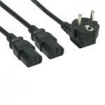 Y-Netzanschlusskabel, schwarz, 2 m Schukostecker 90° abgewinkelt an 2 x Kaltgerätebuchse gerade