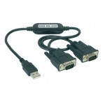 USB RS-232 Konverter, 2 Port, USB Stecker Typ A / 2 x 9-pol. Sub-D Stecker, bis 230 Kb/s