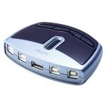 USB Auto Switch, 4-fach, 4 x Typ B Buchse / 1 x Typ A Buchse für vier PC's an ein USB Endgerät (z.B. Drucker)